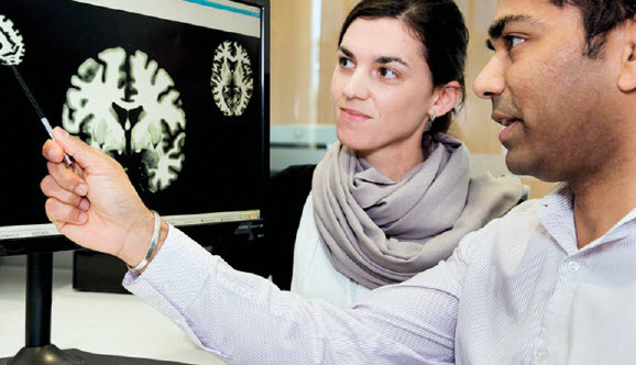 Mental health researchers reviewing brain images